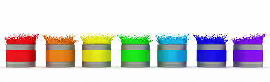 Open paint cans with splashes of rainbow colors. Isolated on white background Royalty Free Stock Image