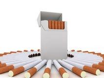 Open pak sigaretten en sigaretten rond royalty-vrije illustratie