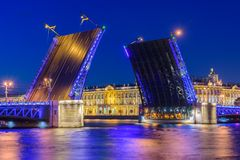 Open Palace Bridge and the Hermitage in Saint Royalty Free Stock Photo