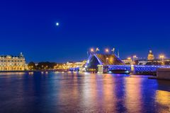 Open Palace Bridge and the Hermitage in Saint Petersburg Stock Photo