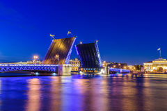 Open Palace Bridge and the Hermitage in Saint Petersburg Royalty Free Stock Photos