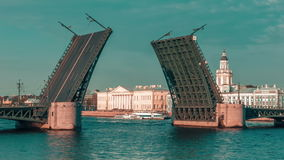 Open Palace Bridge On The Neva River stock video