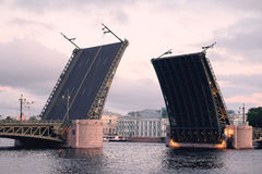 Open Palace bridge from the Neva river Royalty Free Stock Image