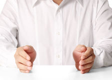 Open palm hand gesture Stock Photo