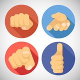 Open Palm Pleading Giving Pointing Finger Tumbs up. Open Palm Pleading Giving Pointing Finger Tumbs Like Punchinf Fist Icon Symbols Concept Flat Design Vector Royalty Free Stock Images