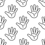 Open palm vector seamless pattern in black and white. Open hands outline illustration Royalty Free Stock Images