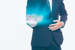Open palmhand met holdingsgroep bedrijfspictogram op witte rug Royalty-vrije Stock Foto