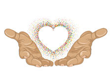From open palms fly multi-colored confetti in the form of heart. Royalty Free Stock Photography