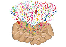 From the open palms of hands fly multicolored confetti. Greeting card Royalty Free Stock Photos
