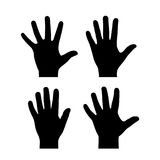 Open palm vector icon. Open palms hands vector icons set Stock Photo