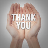 Open palms with word thank you Royalty Free Stock Images