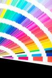 Open Pantone sample colors catalogue. stock photos
