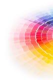 Open Pantone sample colors catalogue. Colour swatches book. Rainbow sample colors catalogue Stock Photo