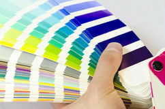 Open Pantone sample colors catalogue Stock Image
