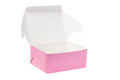 Open Paper Box. For Cookies or Cakes on White Background Stock Photos