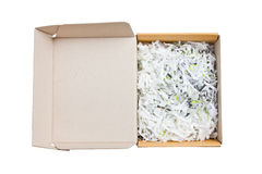 Open paper box heap with bumping papers insideใ Royalty Free Stock Image