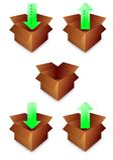 Open paper box icon Stock Image