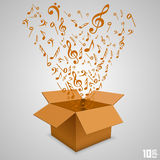 Open paper box with notes Royalty Free Stock Images