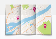 Open paper city map Stock Image