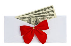 Open a paper envelope with the money and bow Stock Photography