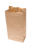 Open paper lunch bag. An open brown paper lunch bag isolated on white Royalty Free Stock Image
