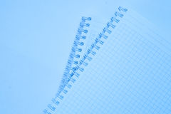 Open paper notebook for text and background in blue color Royalty Free Stock Photos