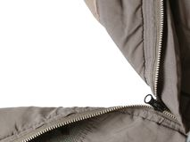 Open parka. A parka with its zipper opened to a white background. Any chosen scenery can be easily added to the background royalty free stock photo