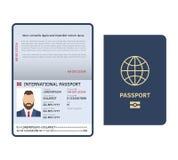 Open paspoort Identiteitskaart-van de de pagina wettelijk steekproef van de document mannelijk foto internationaal het paspoort v vector illustratie