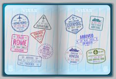 Open passport for foreign traveling. Pages with immigration vector icon set stamps. Personal passport with stamps arrived illustration stock illustration