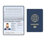Open passport. Id document male photo page legal sample international passport vector template. Open passport. Id document male photo page legal sample vector illustration