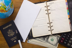 Open daily, passport and money. Stock Photo