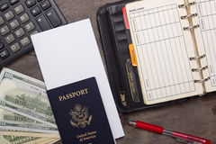 Open daily, passport and money. Royalty Free Stock Photo