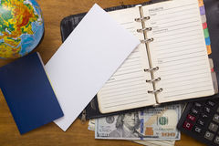 Open daily, passport and money. Royalty Free Stock Photography