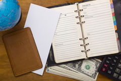 Open daily, passport and money. Stock Photography