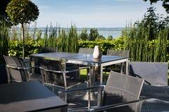 Open patio at Ferme Saint Siméon. Restaurant. Honfleur, Normandy. France royalty free stock photos