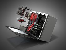 open PC case with internal parts motherboard cooler video card p royalty free stock photo