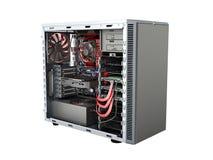 open PC-geval met interne delenmotherboard koelere videokaart p vector illustratie