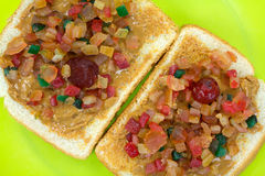 Open Peanut Butter Dried Fruit Sandwich Royalty Free Stock Image