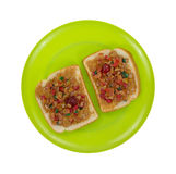 Open Peanut Butter Dried Fruit Sandwich Top View Stock Images