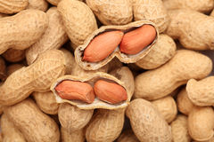 Open Peanuts. Two open peanuts on a penaut background. Close-up Royalty Free Stock Photos