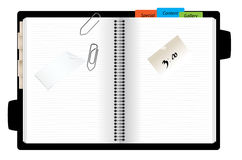 Open personal organizer. Open bussines personal organizer art design Royalty Free Stock Photo