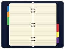 Open personal organizer, isolated. Royalty Free Stock Photos