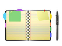Open personal organizer and pen Stock Image