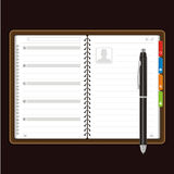 Open personal organizer Vector. Blank pages of the open leather personal organizer with pen Stock Photography