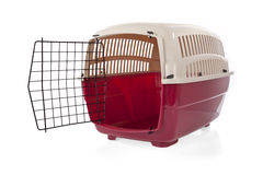 Open pet carrier. Isolated on white background Royalty Free Stock Image