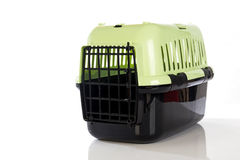 Open pet carrier isolated on white background. Stock Images
