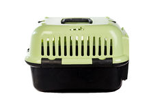 Open pet carrier isolated on white background. Stock Photos