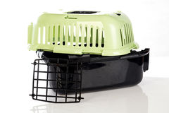 Open pet carrier isolated on white background. Royalty Free Stock Photo