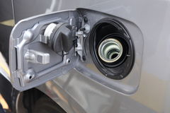 Open petrol cap cover ready to fill up the fuel Stock Images