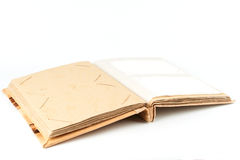 Open photo album with yellow cardboard pages stock photo